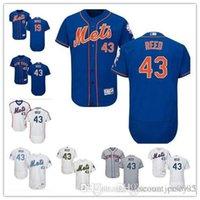 jay azul venda por atacado-Personalizado Homens mulheres juventude Majestic NY Mets Jersey # 19 Jay Bruce 43 Addison Reed Casa Azul Cinza Branco Crianças Meninas Camisas De Beisebol
