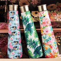 Wholesale cars bottle for sale - 500ML Flamingo Vacuum Water Bottle printed galaxy Pyramid Cola Shaped Double Walled Insulated Travel Bottles Coke Outdoor Car Cup AAA1781