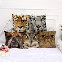 decoração de animais 3d venda por atacado-Animal 3D impresso fronha 45 * 45 cm algodão fronha fronha 8 projetos quadrado sofá capa de almofada do carro cintura fronha decoração da sua casa