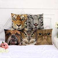 ingrosso 3d animali decorazione-Animale 3D stampato federa 45 * 45 centimetri in cotone copertura del cuscino di lino 8 disegni cuscino quadrato divano copertura auto vita federa decorazioni per la casa