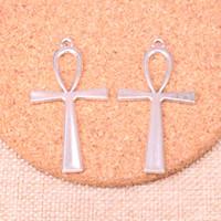 ingrosso gioielli simbolo ankh-38pcs Charms croce egiziano ankh life symbol Pendenti placcati argento antico Misura gioielli Fare risultati Accessori 52 * 28mm