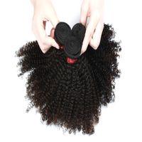 brazilian bakire hair 28inch toptan satış-9A Afro Kinky Kıvırcık Saç Uzatma 3 Paketler veya 4 Paketler Brezilyalı Hint Malezya 100% Virgin İnsan Saç Doğal Renk 8-28 inç