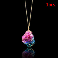 Wholesale mood stones resale online - Mood Changing Stone Necklace Irregular Natural Crystal Chakra Rock Colorful Stone Quartz Pendant Necklace