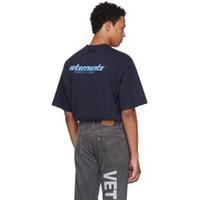 hip hop t-shirt blau großhandel-Vetements Blue Logo Printed T Luxus Vintage Einfarbig Kurzen Ärmeln Männer Frauen Casual Hip Hop Straße Skateboard T-shirt HFTTTX032