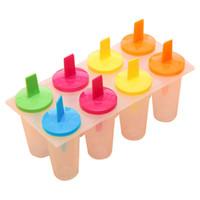 пресс-форма горячего льда оптовых-Высокое качество Горячий продавать 8PCS DIY Ice Cream Pop Mold Замороженные Icy Мороженое эскимо Icepop Block Maker Set