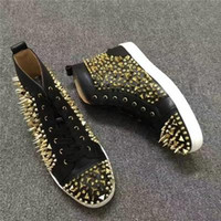 Wholesale gold spikes studs resale online - Luxury Studs Red Bottom Pik High Top White Genuine Leather Pik Pik Spikes Sneaker Shoes Women Men Top Quality Casual Shoes Outdoor Trainer