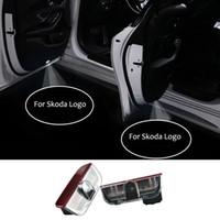 Wholesale led car badge light resale online - 2pcs Car Door Welcome Light Led Logo Badge Lights V Warning Projector Lamp For Superb