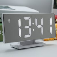 neuer spiegeltisch großhandel-Neue Upgrate Digital Wecker LED Spiegel Uhr Multifunktions Snooze Display Zeit Nacht Led Tisch Desktop Reloj Despertador