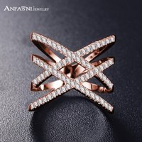 Wholesale brass ring price for sale - Group buy 2018 Hot Bottom Price Only Weeks Fashion Rings for Women Double Letter X Shape Ring Zirconia Micro Paved Women Anel
