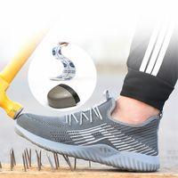 sapatos de segurança ao ar livre venda por atacado-2019 dos homens de aço respirável biqueira de segurança calçados masculinos ao ar livre antiderrapante de aço à prova de punção botas de segurança de construção sapatos de trabalho