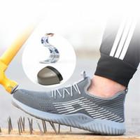 zapatos de seguridad al aire libre al por mayor-2019 hombres transpirable puntera de acero zapatos de seguridad de los hombres al aire libre antideslizante de acero prueba de pinchazos botas de seguridad de construcción zapatos de trabajo
