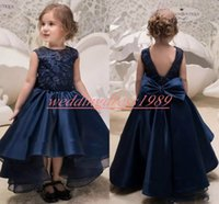 Wholesale navy dress 2t for sale - Group buy High Low Navy Lace Girls Pageant Dress Bow Satin Girl Birthday Gowns Kids Formal Party Wear Flower Girls Dresses First Communion Dress