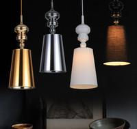 led tekli sarkıt ışıkları toptan satış-Yeni Sıcak Kolye Işık Modern Bez Asılı Lamba Modern Sarkıt AC 90-260 V Tek Kafa Yatak Odası Çalışma Hanglamp