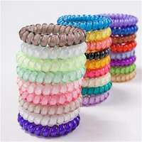 Wholesale dhl telephone resale online - 27 Colors Telephone Wire Cord Gum Hair Tie cm Girls Elastic Hair Band Ring Rope Candy Color Bracelet Stretchy Scrunchy DHL FJ349