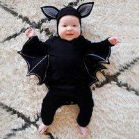 yenidoğan halloween giysileri toptan satış-Cadılar bayramı Yenidoğan Bebek giyim Toddler Bebek Erkek Kız Cadılar Bayramı Yarasa Cosplay Kostüm Uzun Kollu Romper Şapka Kıyafetler Set