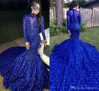 hermosa lentejuela sirena prom al por mayor-2019 Lujo Hermosa Royal Blue Sirena Vestidos de baile Corte Tren Flores Apliques Lentejuelas Elegantes Vestidos de fiesta de noche formal Personalizado