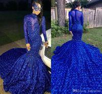 красивое голубое вечернее платье оптовых-2019 Luxury Красивого Royal Blue Русалка Пром платье Шлейф Цветы Аппликация Пайетка Elegant Formal партия вечер платье на заказе