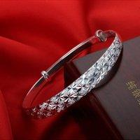 ingrosso bracciali femminili-Nuovi gioielli moda argento da donna con bracciale bangle con ciondolo regalo braccialetto in argento gypsophila