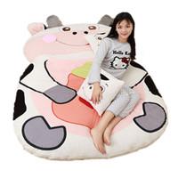 Wholesale huge beds resale online - Dorimytrader Funny Animal Milk Cow Beanbag Stuffed Soft Huge Bed Tatami Sofa Carpet Mattress for Children Gift Decoration DY60847