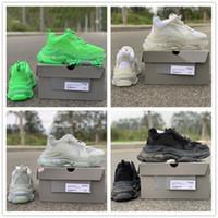 zapatillas verdes para mujer al por mayor-2019 zapatos corrientes de París Triple S 17FW papá Blanco Negro Gris Verde de diseño de moda de lujo para hombre de deportes de las mujeres calzados informales
