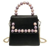 Wholesale pearl color handbag for sale - Group buy Laamei New Cute Crossbody Bags Pearl Chain Candy Color Female Tote Bag Girls Small Handbag PU Flap Fashion Women Messenger Bag