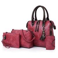 pu deri çanta setleri toptan satış-1 Takım Kadınlar Lady Omuz Crossbody Çanta Çanta Cüzdan Seyahat PU66 için PU Deri Bağbozumu