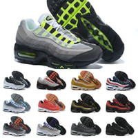 sohlen designs großhandel-2019 Nike Air Max 95 shoes New Airmax 95 Ultra OG X 20-jähriges Jubiläum Männer Sportschuhe Billig Schwarz Weiß Rot Blau Luftpolster Sohle Grau Herren Tennis Turnschuhe