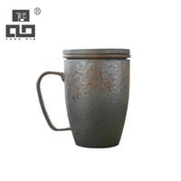 porcelana japonesa venda por atacado-TANGPIN canecas de cerâmica Japonesa com filtros xícara de café de porcelana copo 350 ml