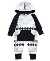 ingrosso vestiti di marca bebe-Canis Newborn Kids Baby Boy Pagliaccetto a righe Bebe Boys Pagliaccetti Tuta Playsuit Abiti con cappuccio Outfit Ropa Pagliaccetto