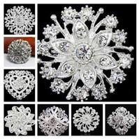 gelin broşları toptan satış-2019 yeni Moda Gümüş Ton Temizle Rhinestone Kristal Broş Çiçek Kız 'Korsaj Moda Broş Düğün Gelin Buketi Pimleri Broşlar