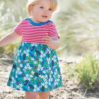 летние платья из америки оптовых-Американские летние платья для девочек 2-7years рождественские костюмы для детей с коротким рукавом полосатой девушки одежды платья младенца одежды Сделано в Китае
