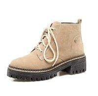 kahverengi dantelli çizmeler topukluyor toptan satış-med topuk yarım bot siyah kahverengi bordo kadar büyüklüğü 33-43 gündelik ayakkabı tıknaz topuk ayak bileği Bootie sonbahar kış dantel