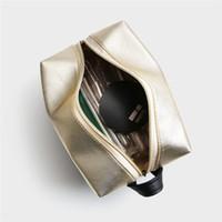 cosméticos maange al por mayor-MAANGE Litchi Stria Patrón Negro Oro Bolsa de Cepillo Cosmético Mujeres Cremallera Portátil Bolsa de Cosmético Maquillaje Bolsas Organizador Accesorios de Viaje