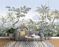 Wholesale plants tree painting resale online - Custom wallpaper D mural photo European style hand painted garden wood rainforest banana palm tree retro mural