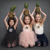 bling roupas de meninas venda por atacado-Verão 2019 crianças vestidos para meninas casual wear bling estrela menina dress crianças boutique clothing tutu bebê meninas roupas