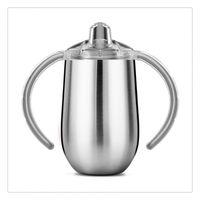 taza de leche para bebé al por mayor-10 oz de acero inoxidable con doble Copa Sippy mangos aislados taza de vacío de la cerveza taza de leche para bebés Copas
