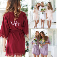 Wholesale personalized lace wedding for sale - Group buy Personalized Gifts Bridal Robes Wedding Gown Lace Piping Bridesmaid Dresses New Cheap Wedding Party Wear FS8344