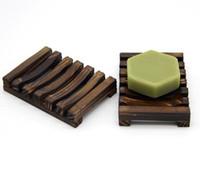 деревянная подставка для подносов оптовых-Деревянная подставка для мыла Держатель для мыла Блюдо для посуды Ванная комната Подставка для хранения душевой подставки Деревянная коробка для мыла из древесного угля Блюда GGA2255