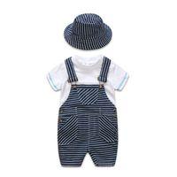meninos suspender camiseta venda por atacado-2019 verão bebê recém-nascido roupas de menino roupas infantis roupas de grife crianças 3 pçs / set branco t-shirt suspender calças chapéu meninos conjuntos A2617