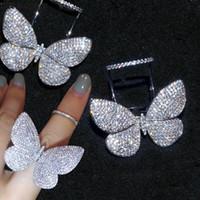 925 kelebek yüzük toptan satış-Choucong El Yapımı Uçan Kelebek Yüzük Mrico Açacağı 299 adet 5A Zirkon Cz kadınlar için 925 Ayar Gümüş Parti Düğün Band Yüzükler