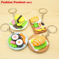 Wholesale food accessories resale online - Creative Salmon Slices Sushi Shaped Keychain Key Ring Food Simulation Pendant key Ring Car Bag Accessories