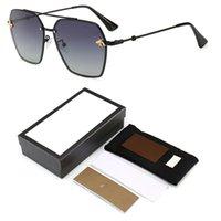 renkli güneş gözlüğü toptan satış-2019 Moda Kadınlar Küçük Arı Güneş Gözlüğü Renkli Perçin Gözlük Kadın Erkek Açık Seyahat Logo ve kutu ile Gözlük UV400