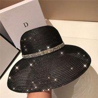 High Quality Elegant Anti-UV Hats Womens Wide Brim Hats Holiday Beach Hat High Quality Sun Hat Tide Black Fisherman Hats