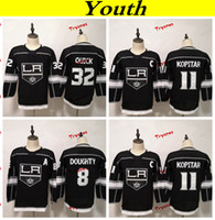ingrosso camicia veloce jonathan-Gioventù Los Angeles Kings 2019 8 Drewty Doughty 11 Anze Kopitar 32 Jonathan Quick Hockey Maglie Ragazzi Ragazze Camicie cucite per bambini