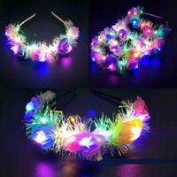 ingrosso fascia delle donne della corona-Cerchietto floreale a LED con corona di fiori per donna