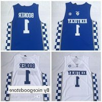 basketball jerseys оптовых-NCAA Кентукки No. 1 Booker White And Blue Вышитый Баскетбол Джерси