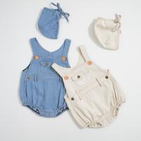 boy girl overoles al por mayor-Boutique Baby Boy Girl ropa Outfit Algodón Denim Pocket General Romper Jumpsuit + Hat 2 unidades Set venta caliente al por mayor