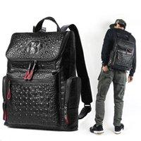 tuval deri dizüstü bilgisayar çantası toptan satış-Yüksek kaliteli deri Timsah baskı sırt çantası erkekler çanta Ünlü tasarımcılar tuval erkek sırt çantası seyahat çantası sırt çantaları Laptop çantası