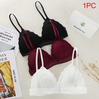 Wholesale soft wired bras resale online - Bra Women Bralette French Style Lace Girls Underwear Cup Lingerie Deep V Wireless Triangle Soft Thin Bra