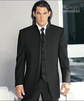 gradas por encargo al por mayor-Nuevo por encargo Negro Stand Collar Novio Tuxedos El mejor hombre se adapta a la boda Padrino de boda Hombre Trajes de boda Novio (chaqueta + pantalón + corbata + chaleco) XZ22